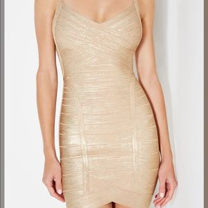New Herve Leger Kourtney Woodgrain Foil Dress